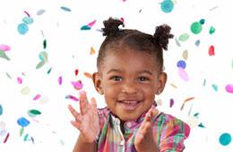 Child in confetti