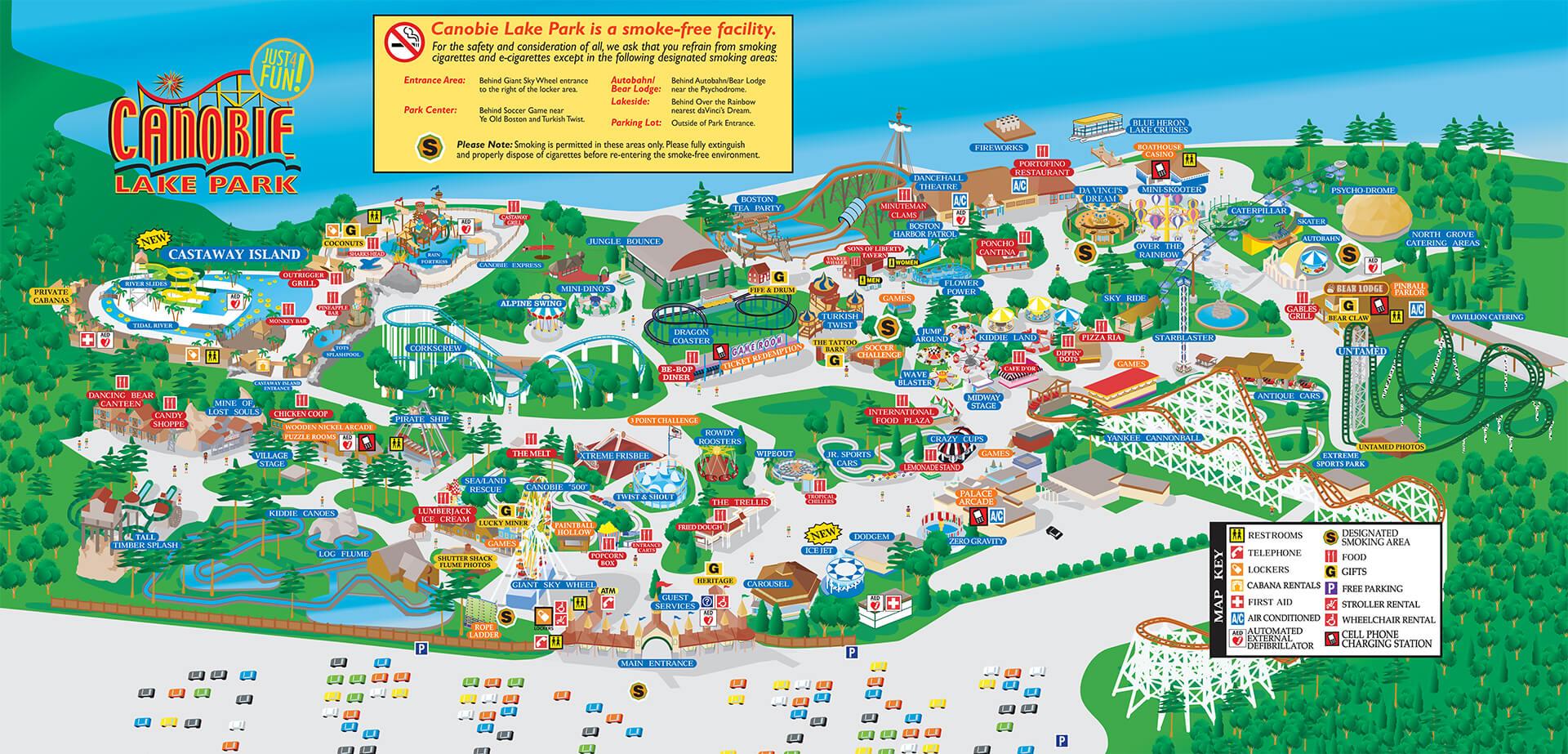 Park Map | Canobie Lake Park Designated Marketing Area Map on