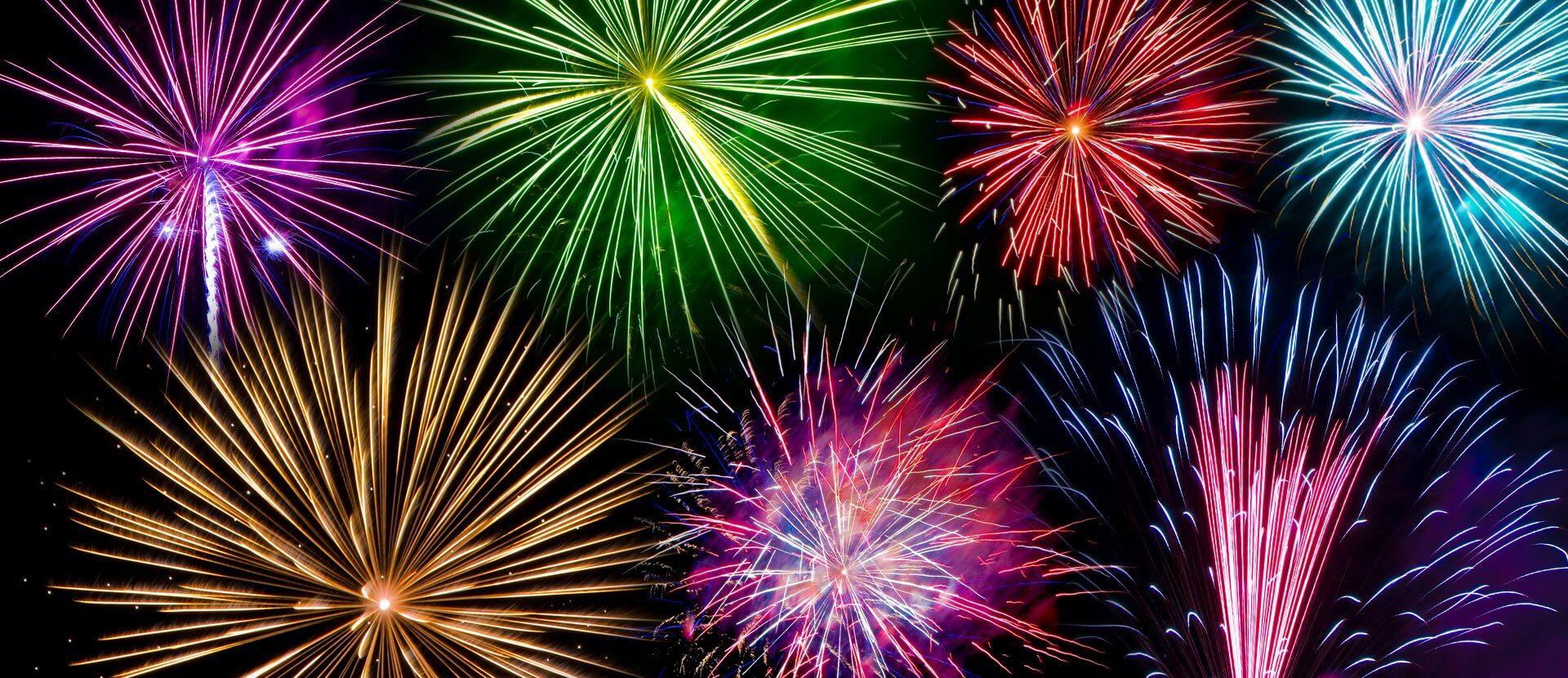 fireworks, night sky, colorful, purple, green, yellow, blue