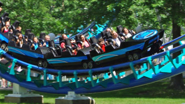 Corkscrew thrill ride at Canobie Lake Park