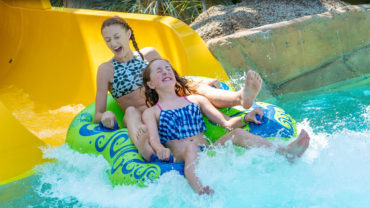 Two girls on Castaway Island Slide