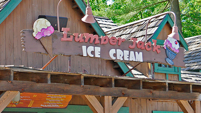 Lumberjack ice cream stand at Canobie Lake Park.