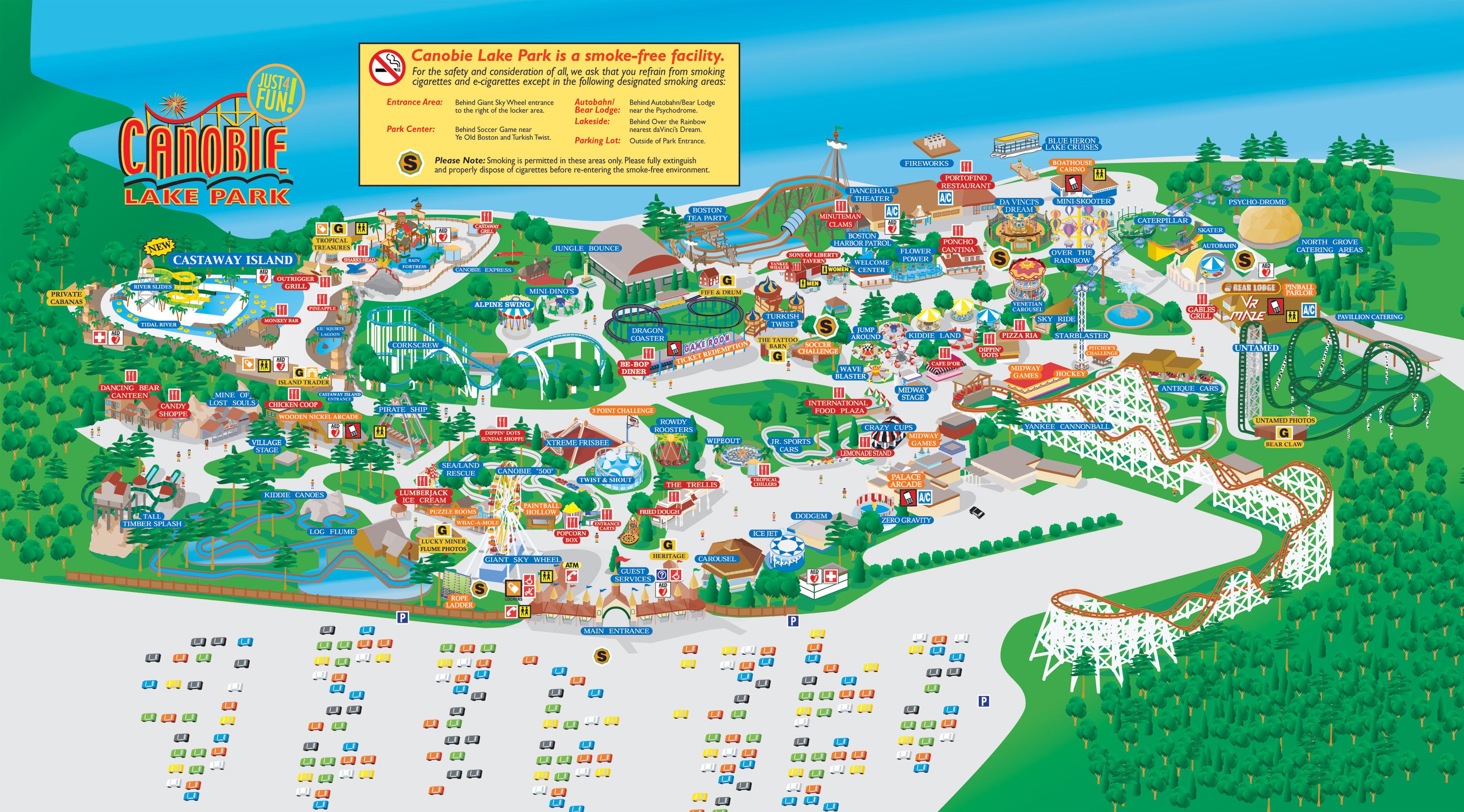 Canobie Lake Park Map Park Map | Canobie Lake Park